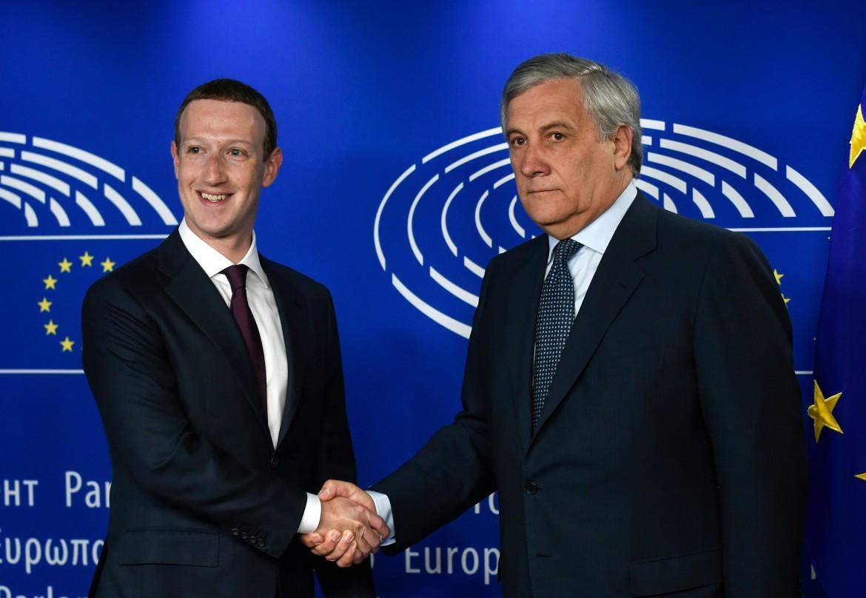 Il presidente del Parlamento europeo Antonio Tajani riceve il boss di Facebook Zuckerberg a Strasburgo