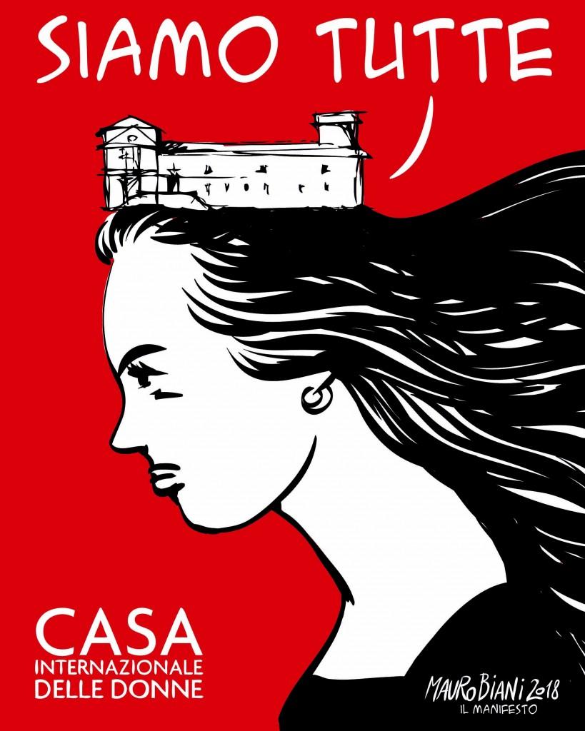 Una illustrazione di Mauro Biani per la Casa delle Donne di Roma