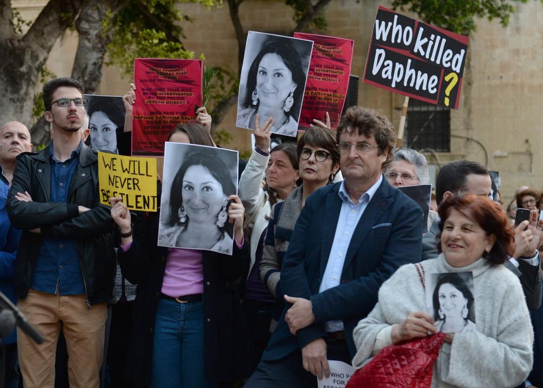 Valletta, picchetto in memoria della giornalista Daphne Caruana Galizia, uccisa a Malta lo scorso ottobre