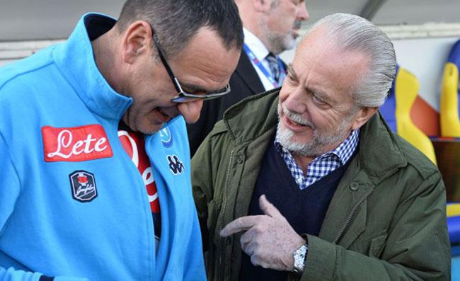 Maurizio Sarri con Aurelio De Laurentiis