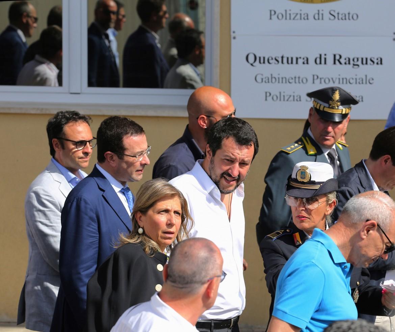 Il ministro dell'Interno Matteo Salvini a Ragusa
