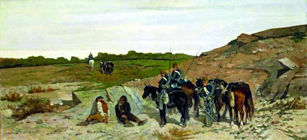 «Arresto di briganti» di Giovanni Fattori, 1864