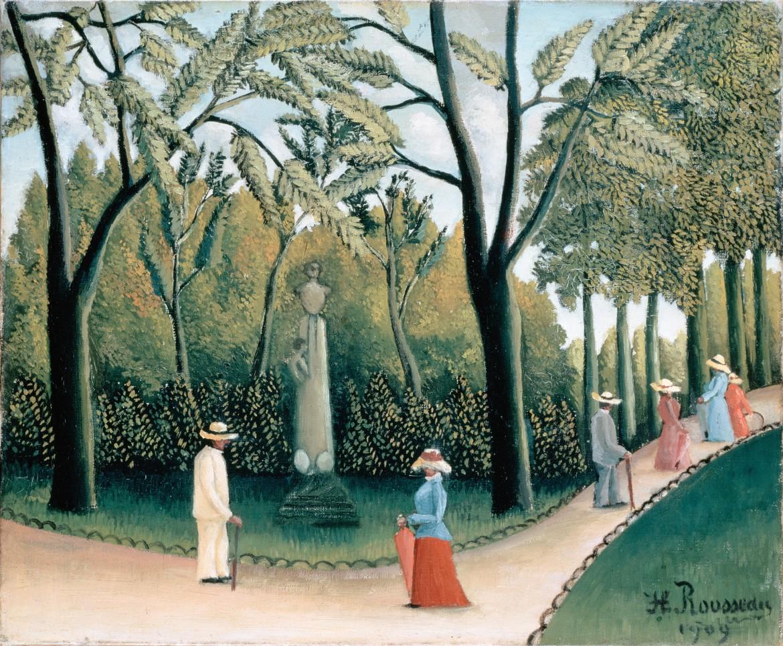 In alto: Simone e André Weil nel 1915 a Mayenne; grande: Henri Rousseau,  The Luxembourg Gardens. Monument to Chopin, 1909 ; (i Giardini  del Lussemburgo erano tra i luoghi prediletti  delle passeggiate  di Simone Weil)