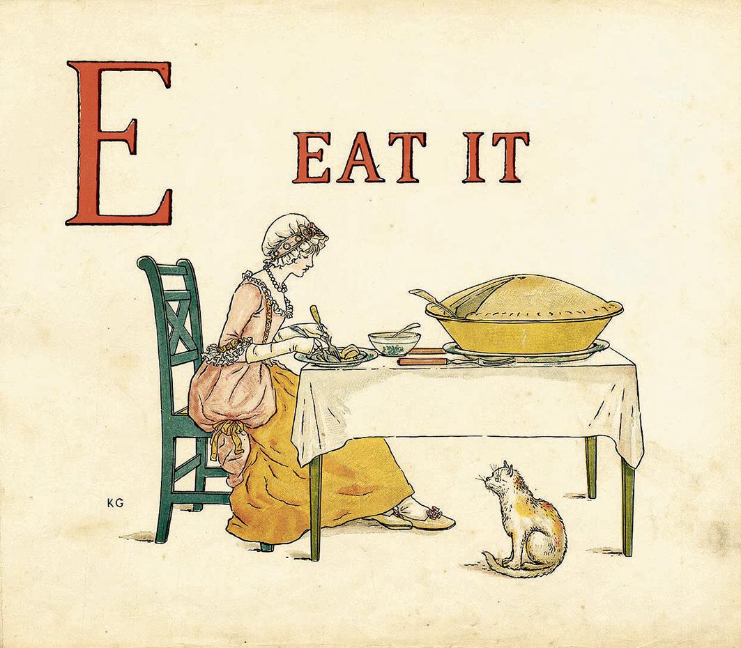 Una tavola dal libro per bambini di Kate Greenaway Apple Pie, 1886