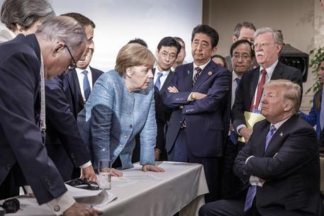 Trump e gli altri membri del G7 al recente Summit di Charlevoix in Canada