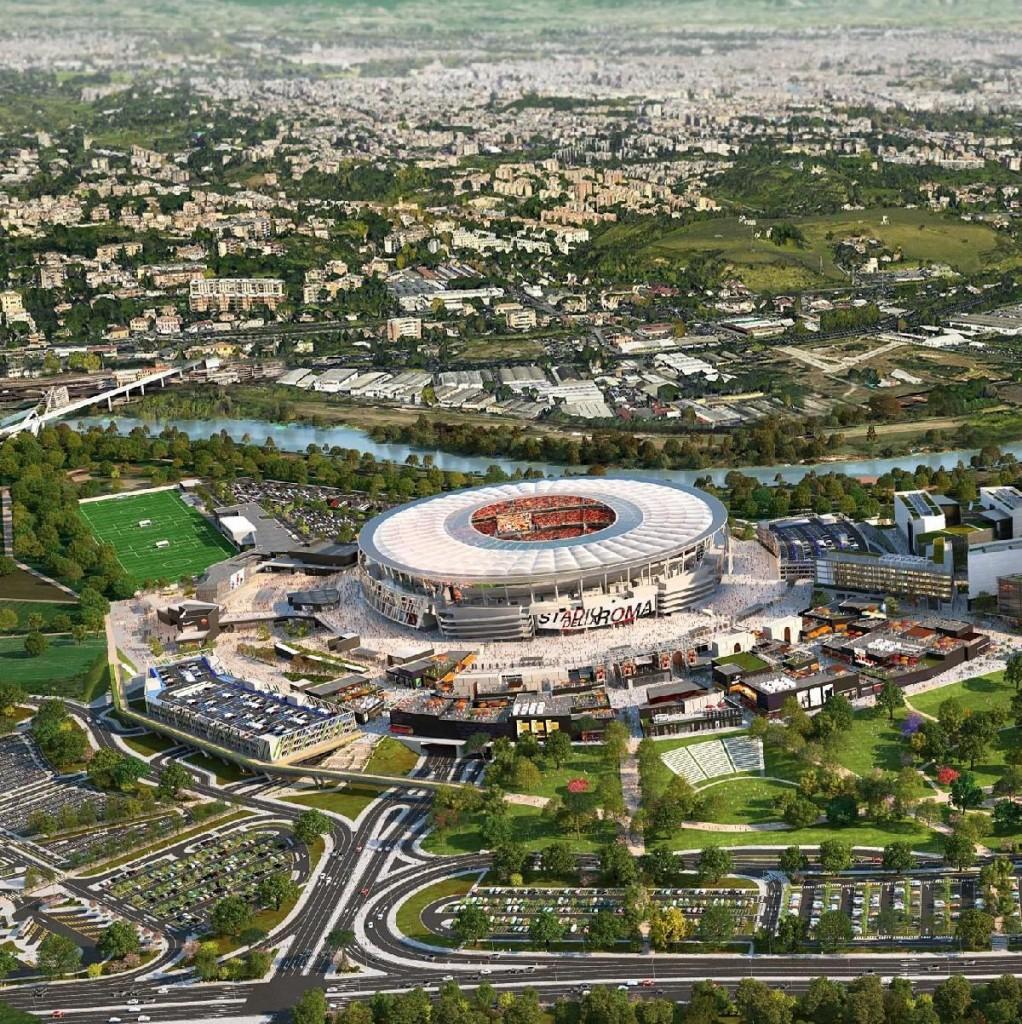 Un rendering del progetto dello Stadio della Roma a Tor di Valle