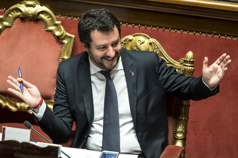 Il ministro dell'interno Matteo Salvini ieri al senato