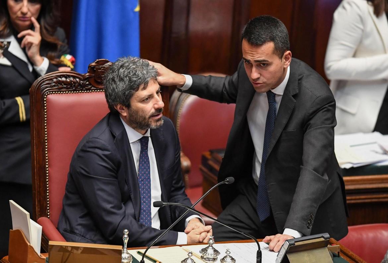 Il presidente della Camera Roberto Fico con il ministro Luigi Di Maio