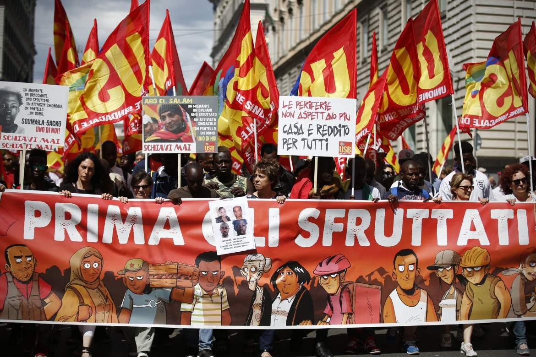 Roma, immagini della manifestazione  in memoria di Soumaila Sacko