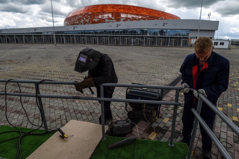 Ultimi ritocchi allo stadio di Saransk