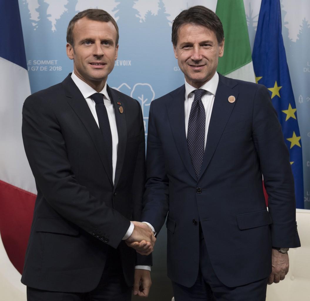 Emmanuel Macron e Giuseppe Conte all'ultimo G7