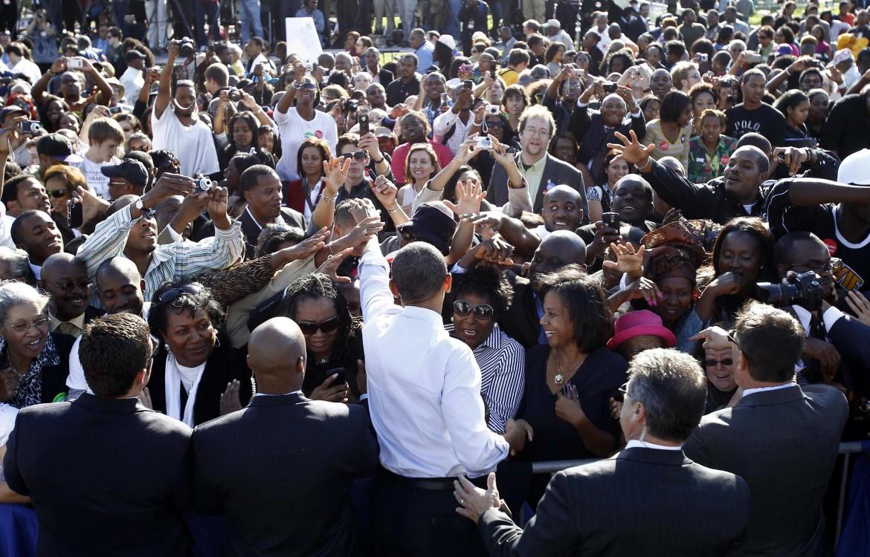 L'ex presidente statunitense Barack Obama alla Bowie State University, in Maryland