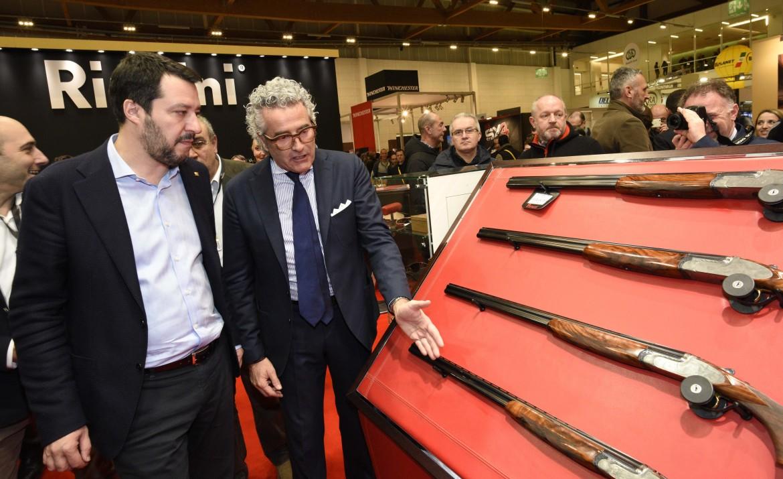 Matteo Salvini l'11 febbraio 2018 alla Fiera delle armi di Vicenza