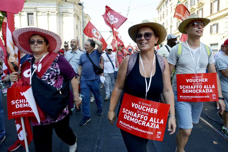 Una protesta contro i voucher