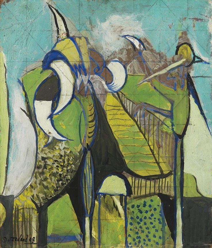 Graham Sutherland, Land scape with corn, 1949; sotto,  Douglas Gordon, video