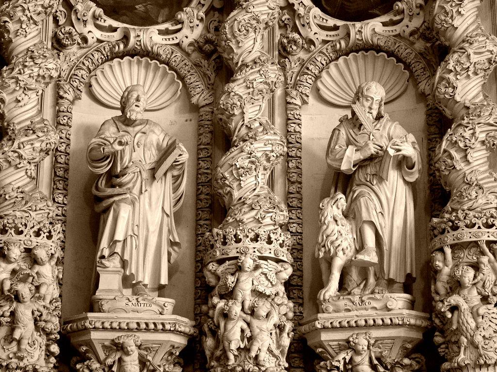 Lecce, Chiesa del Gesù, altare maggiore in pietra leccese, XVII sec., part.