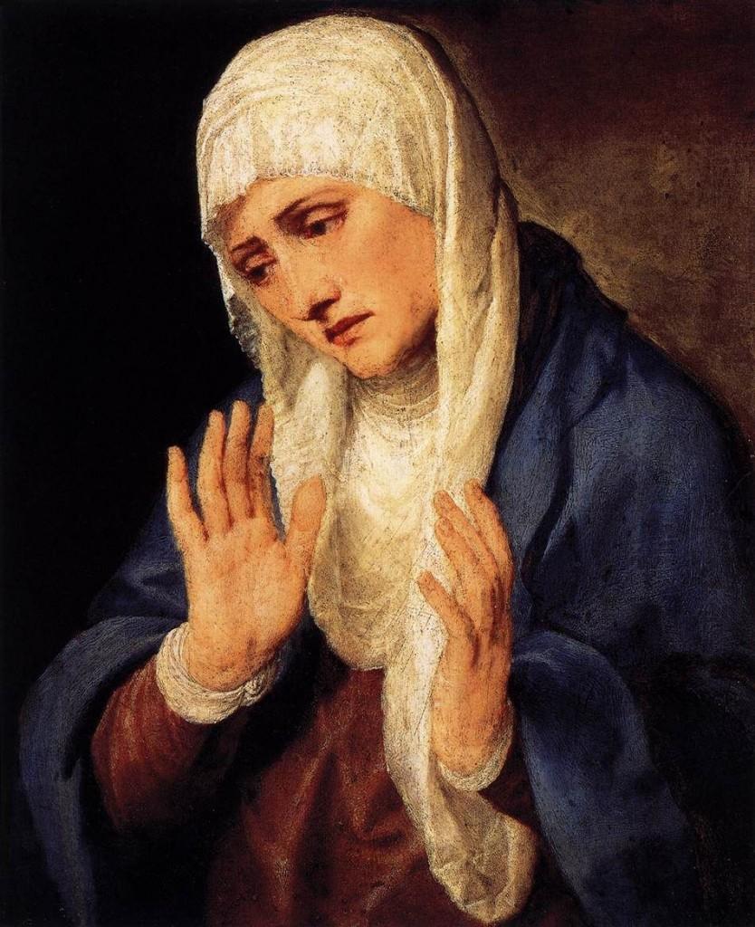 Tiziano, Mater Dolorosa con le mani aperte, 1555, Madrid, Prado