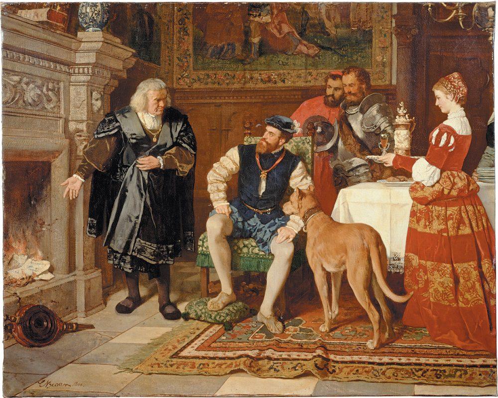 Jacob Fugger che dà fuoco ai certificati di debito di Carlo V nel dipinto di Karl Becker del 1866