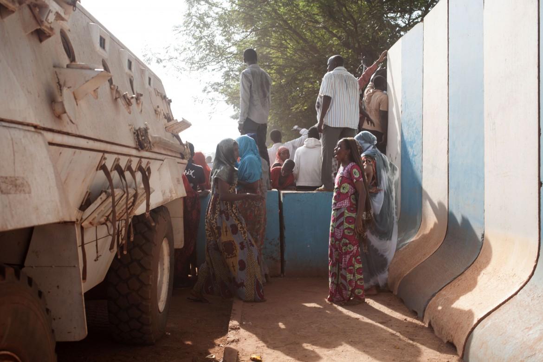 Protesta per le violenze di strada nel quartiere musulmani Pk5, a Bangui, di fronte alla sede Onu