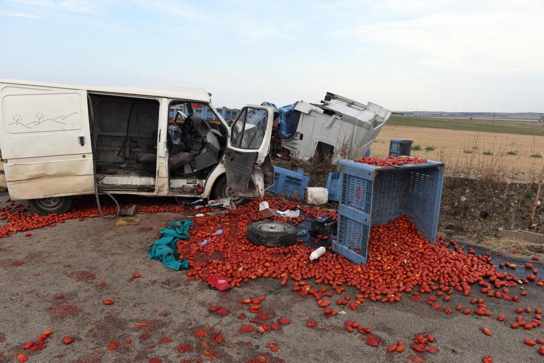L'incidente nel foggiano: il furgone con a bordo otto braccianti dopo lo scontro con il tir carico di pomodori