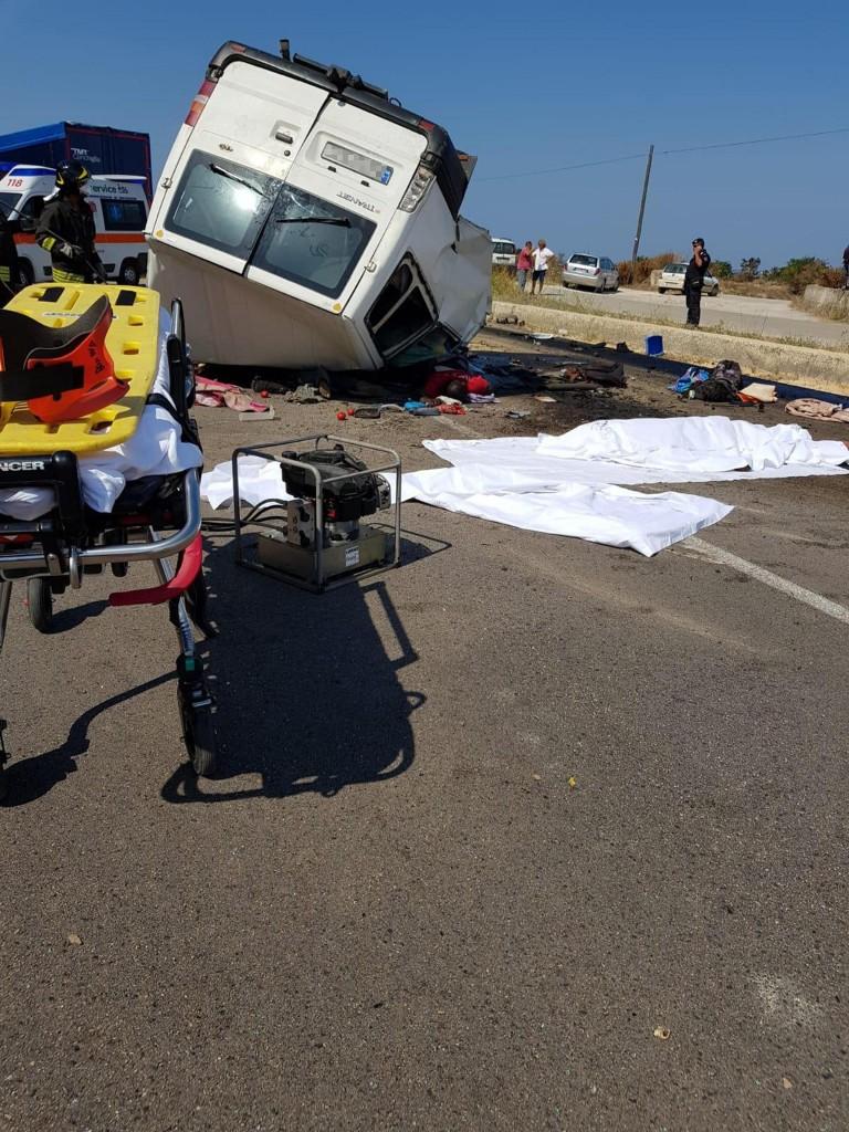La scena dell'incidente di ieri a Lesina