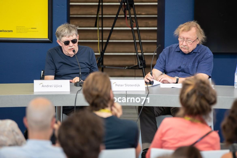 Andrej Ujica e Harun Farocki durante l'incontro a Locarno