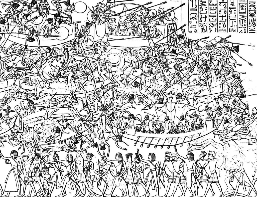 Raffigurazione della battaglia di Ramses III contro i Popoli del mare sulle pareti del tempio di Medinet Habu, in Egitto