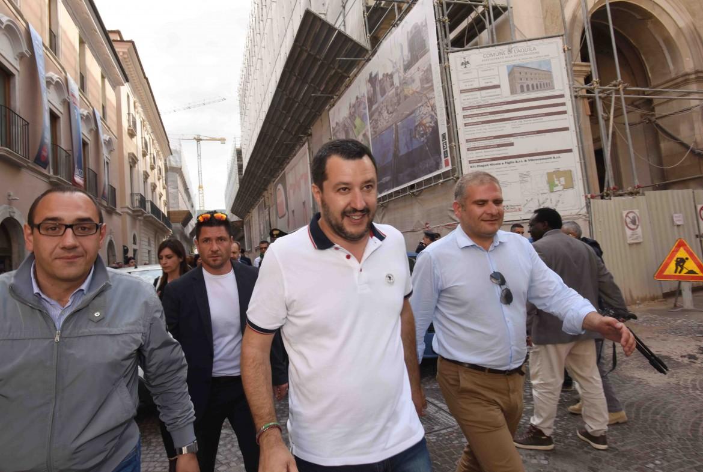 Matteo Salvini nel maggio 2017 a l'Aquila
