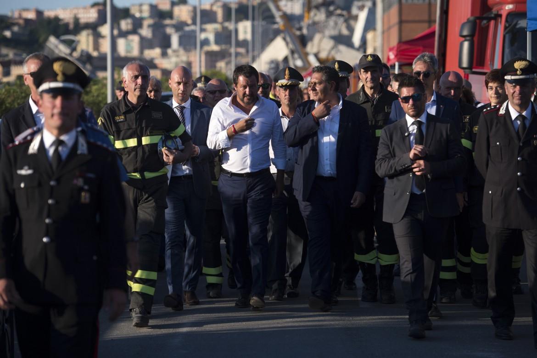 Il ministro Salvini a Genova