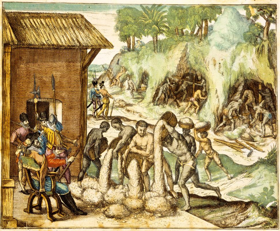 Johann T. de Bry, Schiavi che cercano l'oro per conto degli spagnoli
