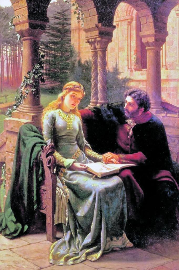 «Eloisa e Abelardo» di Edmund Leighton, 1882; sotto, codice miniato del 1270 e la loro tomba al Père Lachaise di Parigi