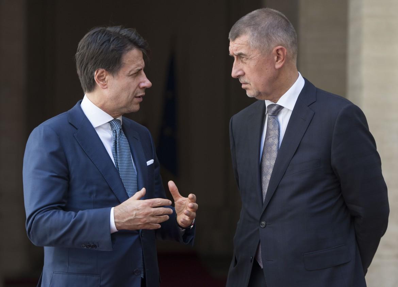 Giuseppe Conte riceve Andrej Babis a palazzo Chigi