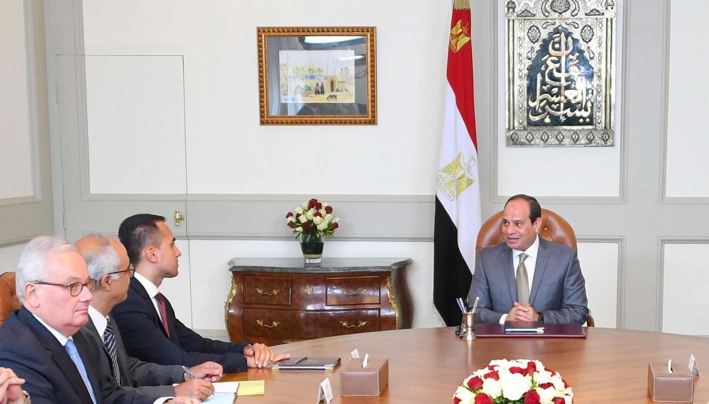 Il ministro Di Maio ieri con al-Sisi