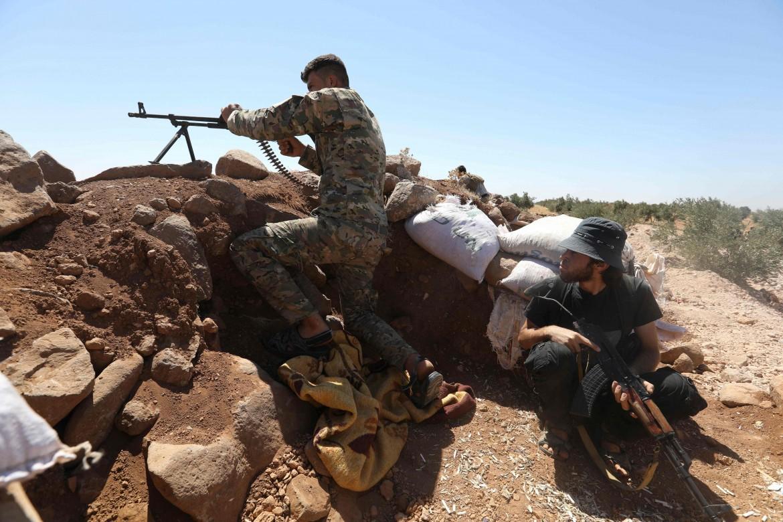 Miliziani della brigata salafita Suqur Al-Sham a Idlib