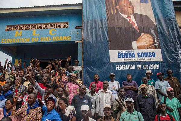 Sostenitori di Bemba al suo arrivo in Congo