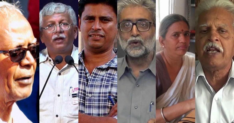 Alcuni degli attivisti indiani arrestati ieri