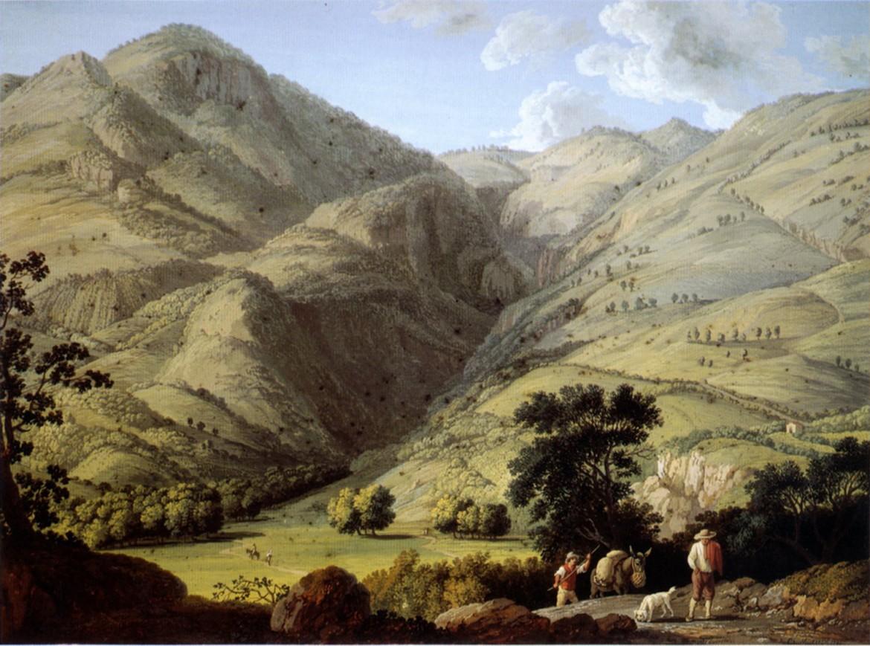 Jacob Philipp Hackert, una delle dieci vedute della campagna oraziana dipinte nel 1780: Monte Lucretili(u)s, Düsseldorf, Goethe-Museum