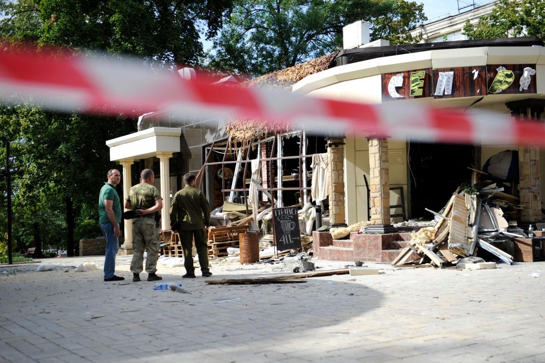 Il cafè dove è stato ucciso il presidente della repubblica popolare del Donbass