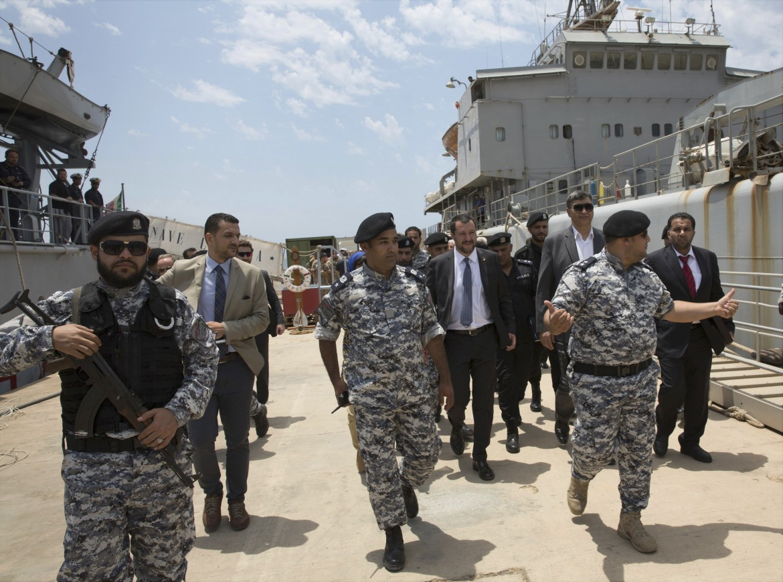 Salvini durante la sua visita in Libia
