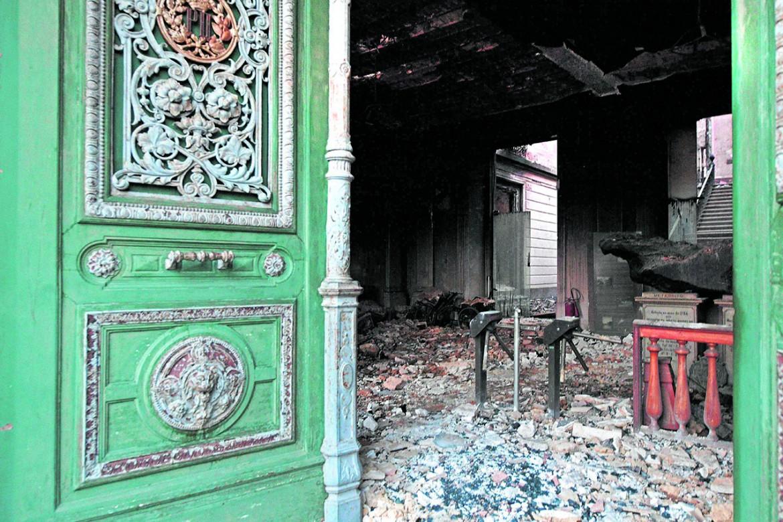 Una delle sale bruciate del museo di Rio de Janeiro