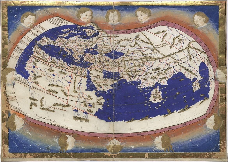 Carta del mondo  di Nicolaus Germanus, pubblicata nella prima edizione di Tolomeo, stampata a Ulm, 1482