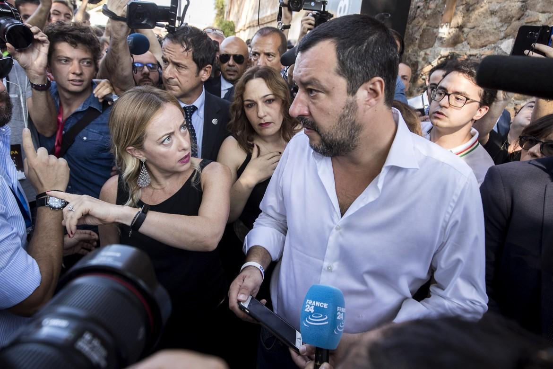 Il leader leghista Matteo Salvini ospite di Giorgia Meloni ieri a Roma
