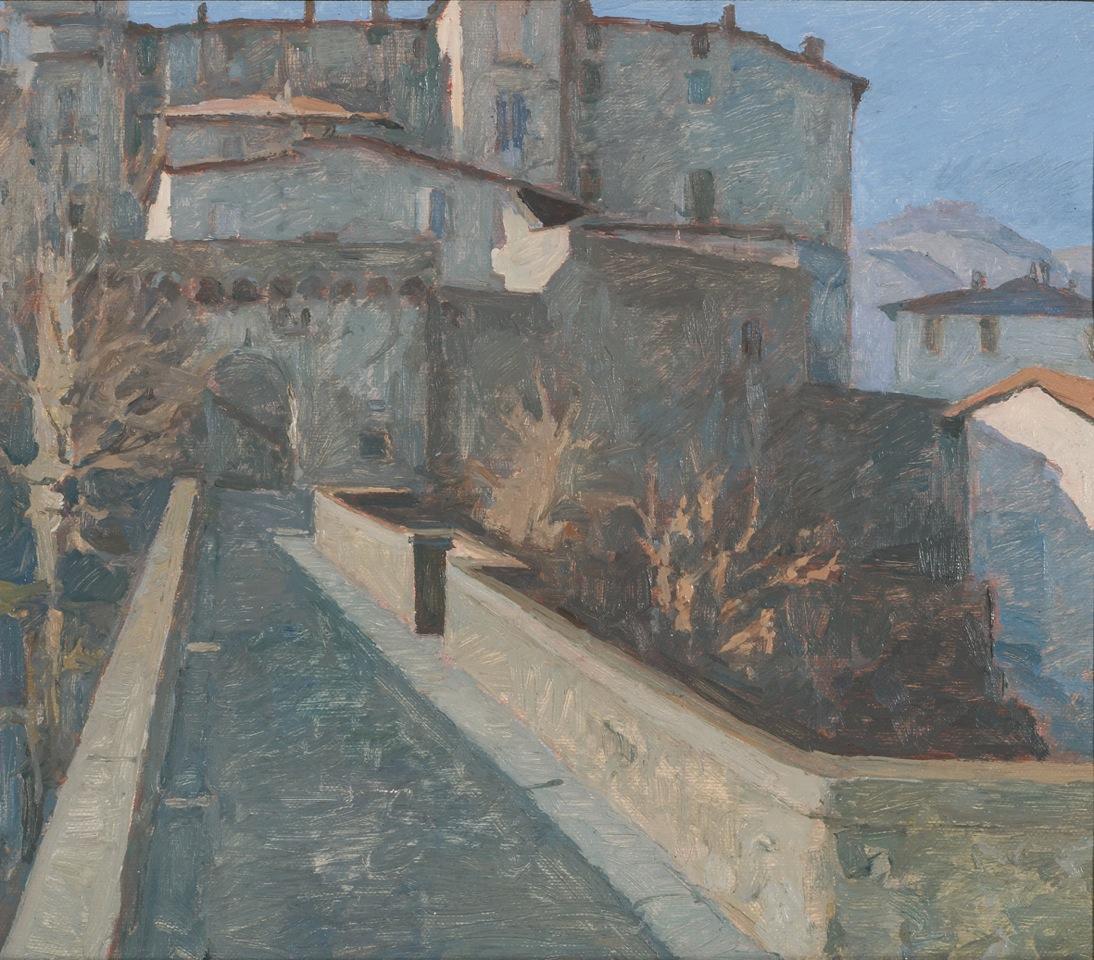 Una veduta di Castelnuovo Garfagnana del pittore Gino Bertoncini (1930-2012)