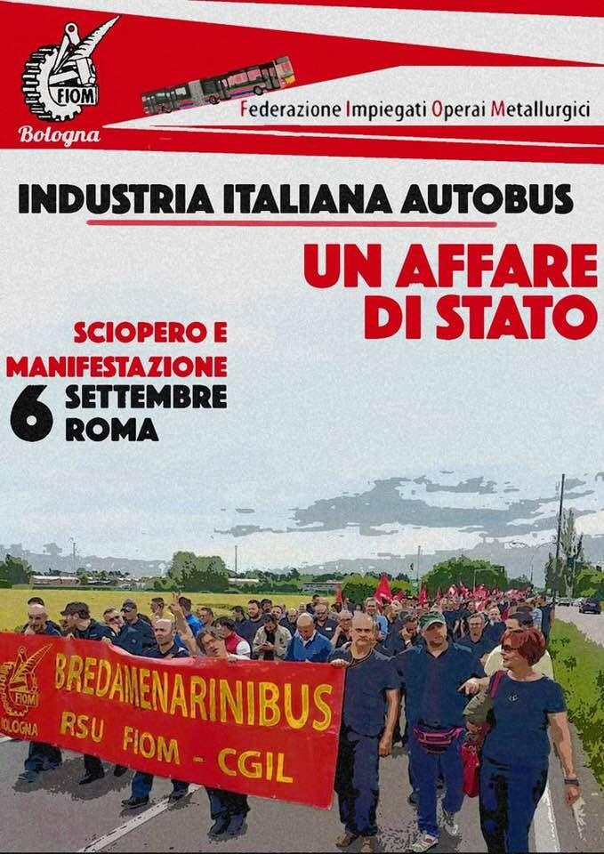 Il volantino che annuncia la protesta dei lavoratori di Industria Italiana Autobus (Iia)