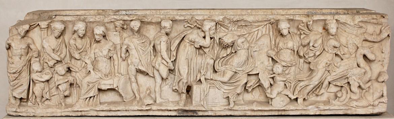 Sarcofago con scene  del mito di Medea: invio dei doni a Creusa, morte di Ceusa, partenza  di Medea con le salme degli figli; 150-170 d.C., Roma, Terme  di Diocleziano