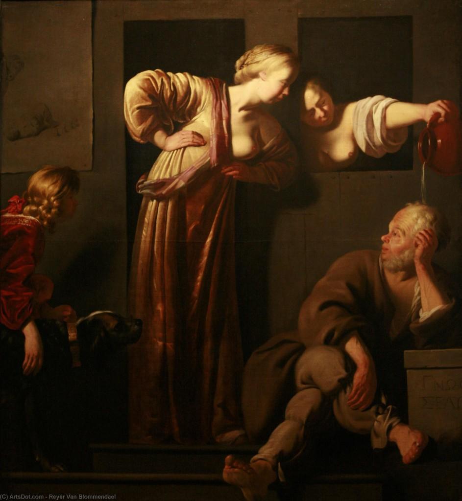 Reyer van Blommendael, Xantippe dousing Socrates, Strasburgo, Musée des Beaux-Arts