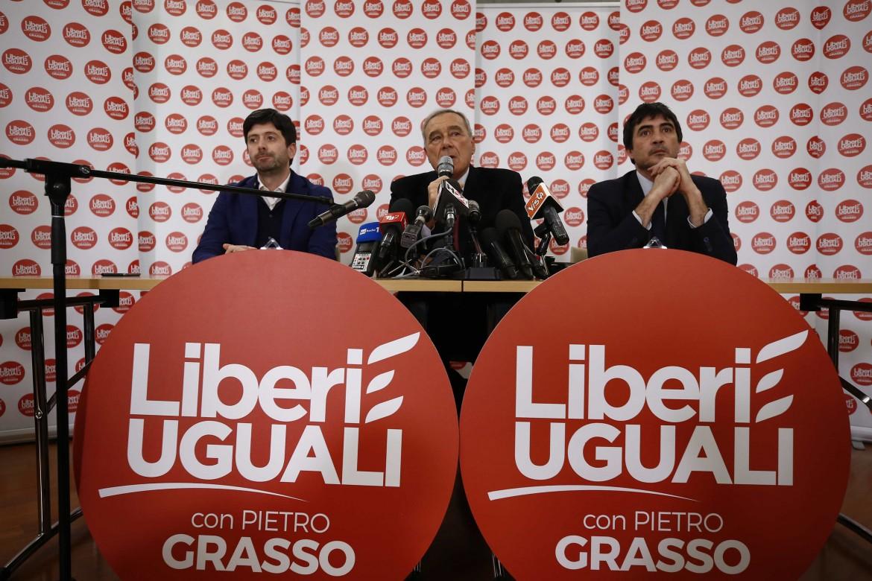 Roberto Speranza, Nicola Fratoianni e Pietro Grasso al lancio di Liberi e uguali