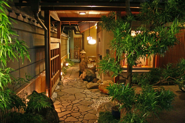 Veduta di un tipico Ryokan giapponese  a Kyoto