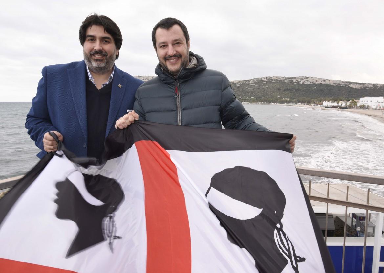 Il presidente della Regione Sardegna Christian Solinas con Matteo Salvini