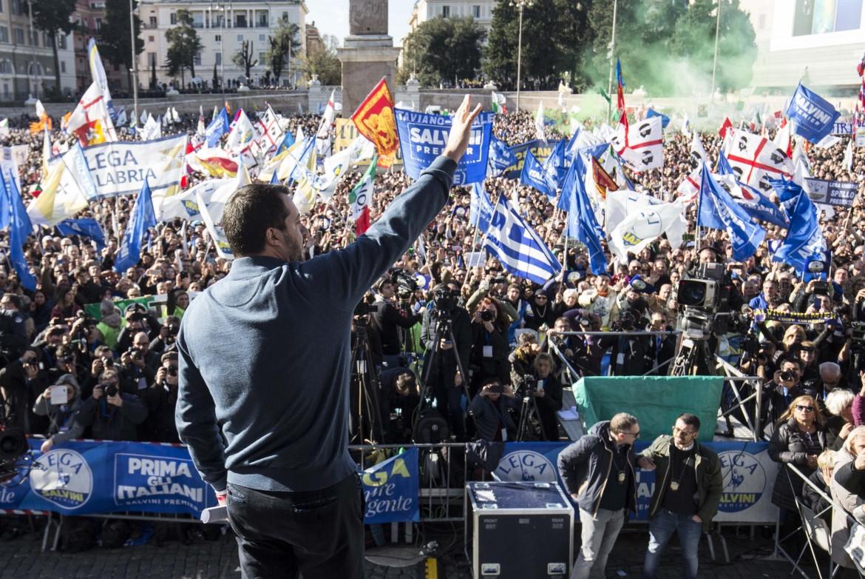 Matteo Salvini in piazza del Popolo a Roma l'8 dicembre 2018